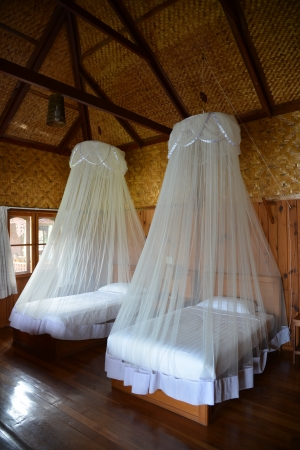 Mosquito net bed form Myanmar Editorial
