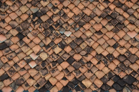 Old tile roof background Stock Photo