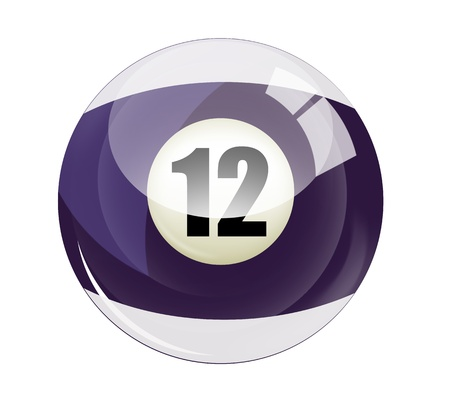 number 12: Billiard ball number 12 Stock Photo