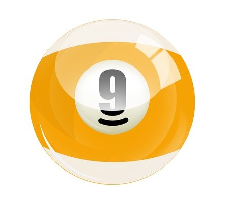 9 ball: Billiard ball number 9 Stock Photo