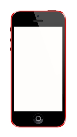 Smartphone red frame on white background