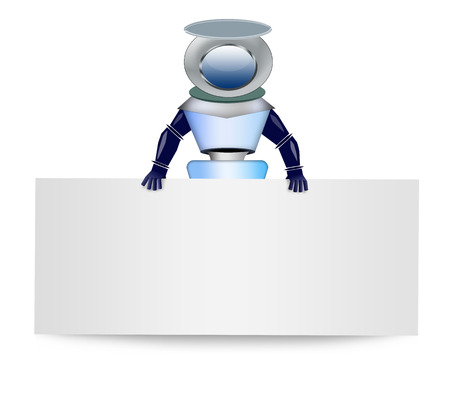 communicatio: Robot with blank banner Stock Photo