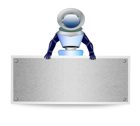 Robot with blank banner on white background