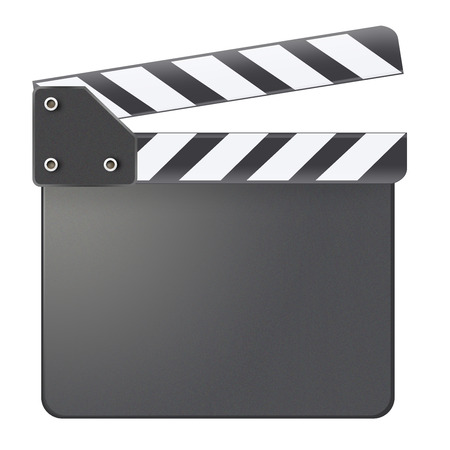 Blank clapboard isolated on white background Stock Photo