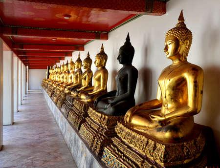 Buddha statues in Wat Pho, Bangkok Thailand