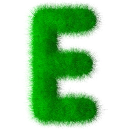 Green alphabet grass E letter,eco font isolated on white background Stock Photo