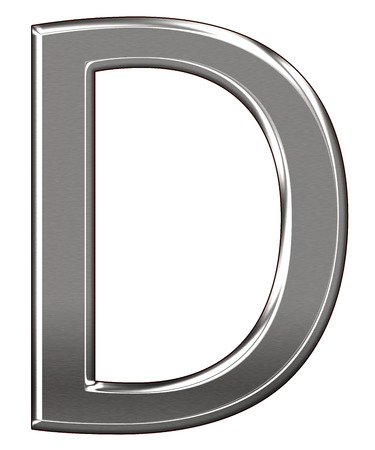 Metal Letter D chrome alphabe  isolated on white background