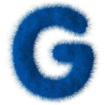Blue shag G letter isolated on white background Stock Photo
