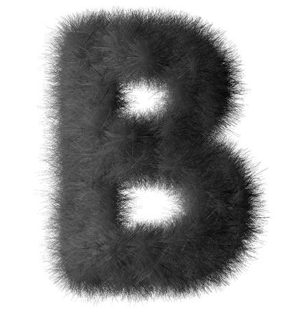 Black shag B letter isolated on white background Stock Photo