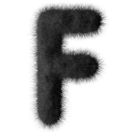 Black shag F letter isolated on white background