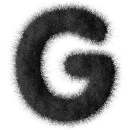 Black shag G letter isolated on white background photo