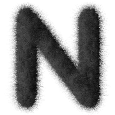 fluffy tuft: Black shag N letter isolated on white background Stock Photo