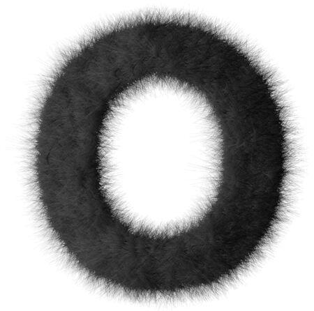 fluffy tuft: Black shag O letter isolated on white background Stock Photo