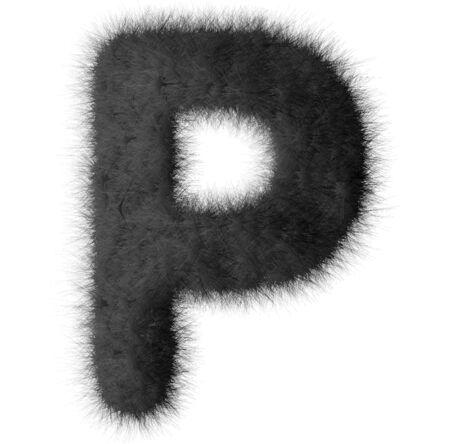 fluffy tuft: Black shag P letter isolated on white background Stock Photo