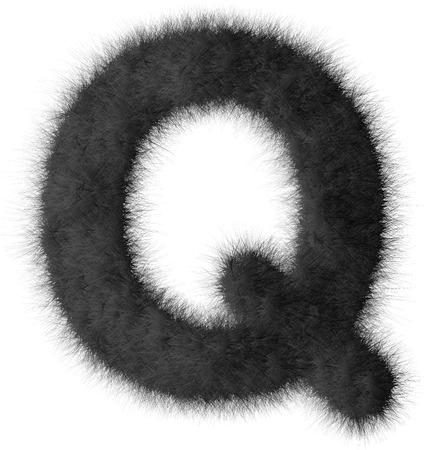 fluffy tuft: Black shag Q letter isolated on white background
