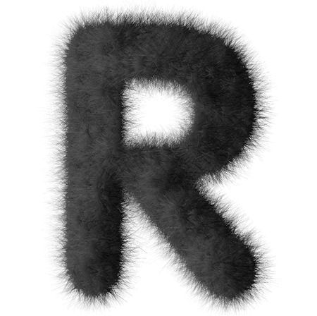 Black shag R letter isolated on white background