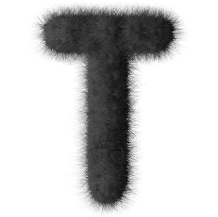 fluffy tuft: Black shag T letter isolated on white background Stock Photo