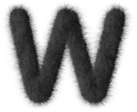fluffy tuft: Black shag W letter isolated on white background