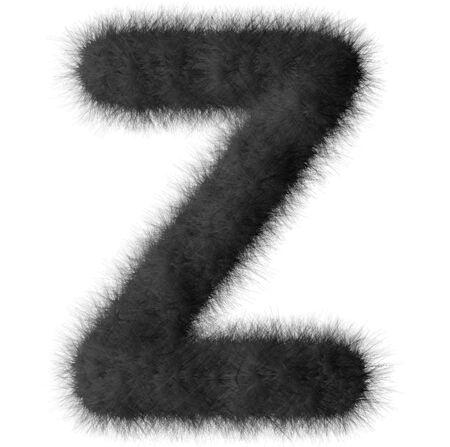 Black shag Z letter isolated on white background Stock Photo