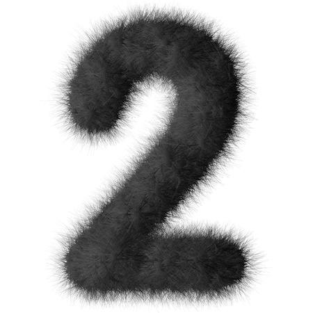 fluffy tuft: Black shag 2 number font isolated on white background Stock Photo