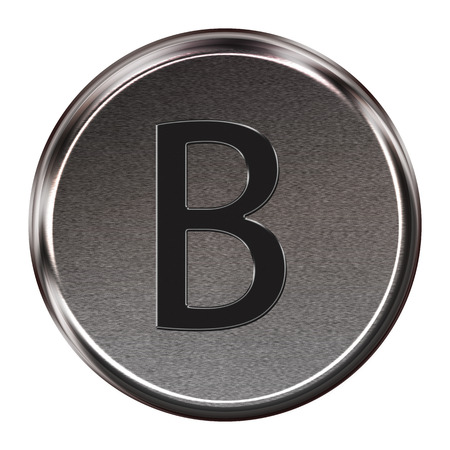 Metal button black alphabet letter B  isolated on white background photo