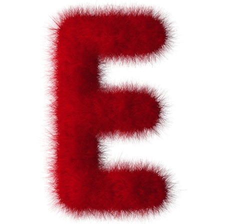 Red shag E letter isolated on white background Stock Photo