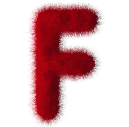 fluffy tuft: Red shag F letter isolated on white background