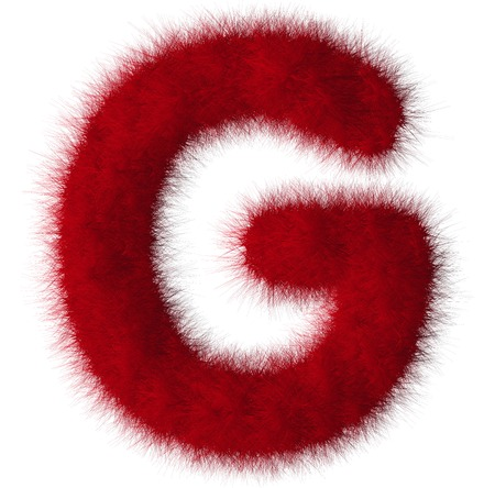 fluffy tuft: Red shag G letter isolated on white background Stock Photo
