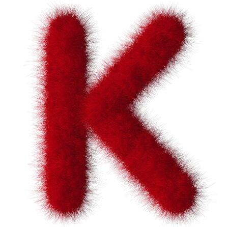 Red shag K letter isolated on white background photo