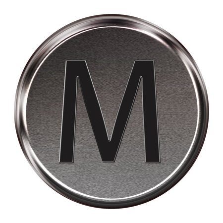 Metal button black alphabet letter M  isolated on white background