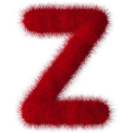 fluffy tuft: Red shag Z letter isolated on white background