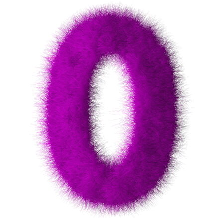 Purple shag 0 number font isolated on white background