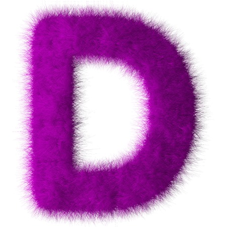 shag: Purple shag D letter isolated on white background
