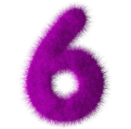 fluffy tuft: Purple shag 6 number font isolated on white background