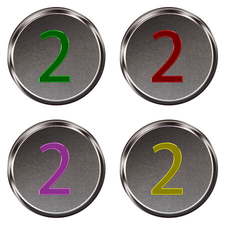 ring tones: Metal keypad button number 2  isolated on white background Stock Photo