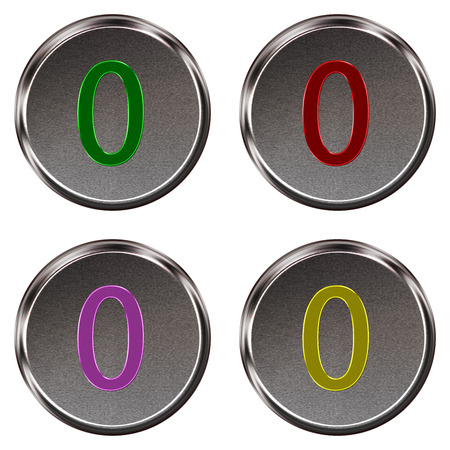 ring tones: Metal keypad button number 0  isolated on white background