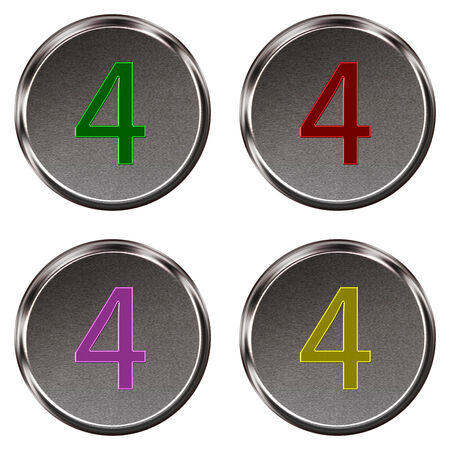 ring tones: Metal keypad button number 4  isolated on white background