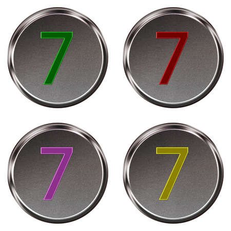 ring tones: Metal keypad button number 7  isolated on white background Stock Photo