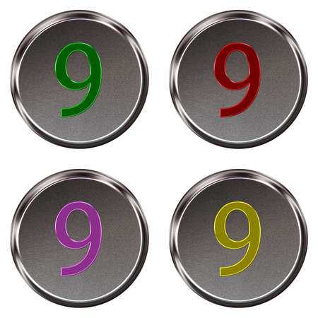 ring tones: Metal keypad button number 9  isolated on white background