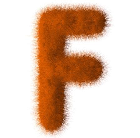 Orange shag F letter isolated on white background