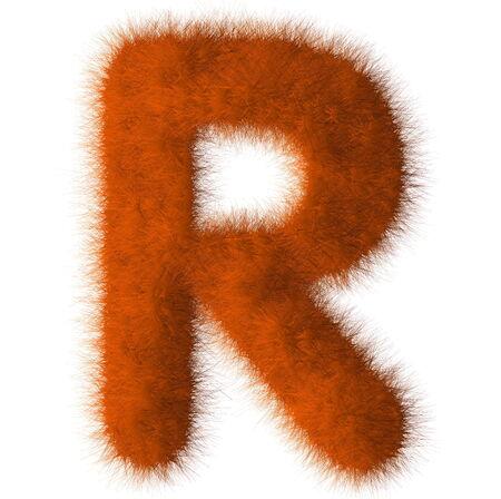Orange shag R letter isolated on white background photo