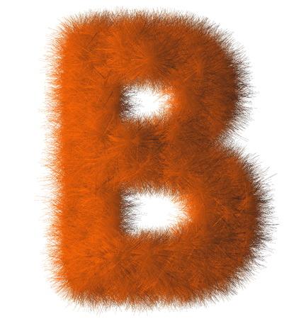 Orange shag B letter isolated on white background