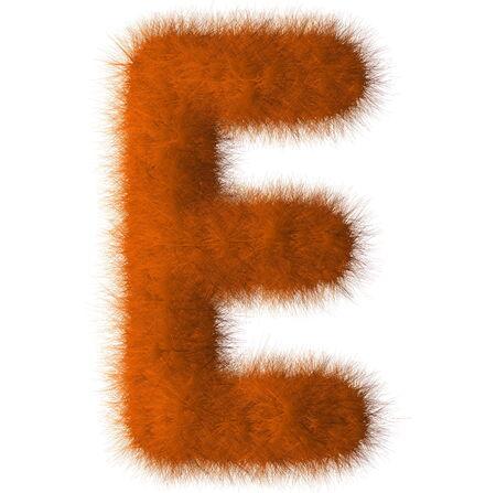 Orange shag E letter isolated on white background photo
