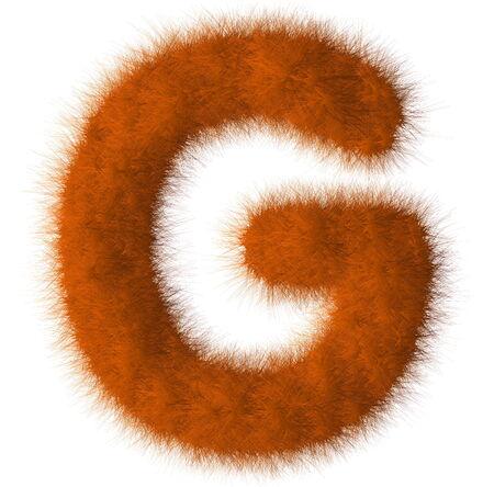 Orange shag G letter isolated on white background Stock Photo