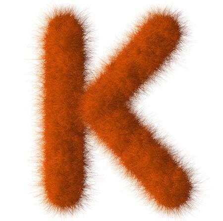 Orange shag K letter isolated on white background Stock Photo