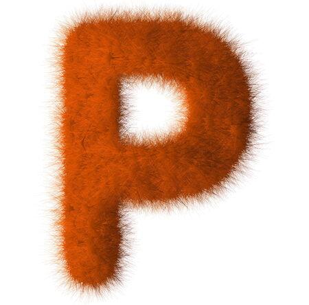 Orange shag P letter isolated on white background photo
