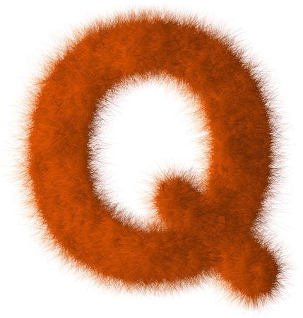 Orange shag Q letter isolated on white background Stock Photo