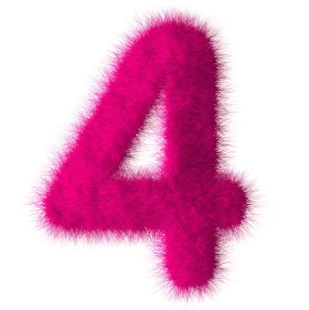 Pink shag 4 number font isolated on white background