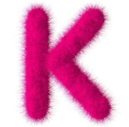 fluffy tuft: Pink shag K letter isolated on white background