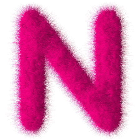 fluffy tuft: Pink shag N letter isolated on white background